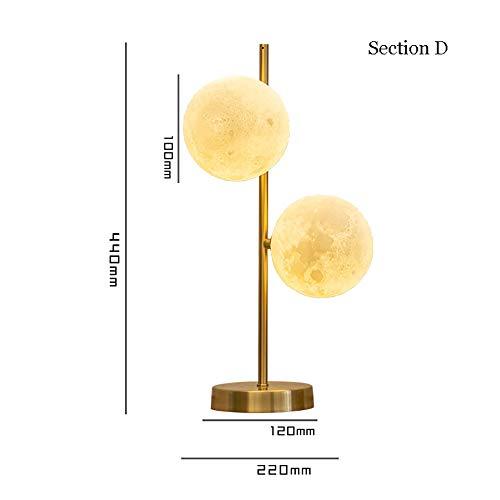 SELMAL Tischlampe, 3D gedruckte Mondlampe mit USB Aufladen Wohnzimmer Schlafzimmer Kinderzimmer Wohnheim Couchtisch Bücherregal,D,S -