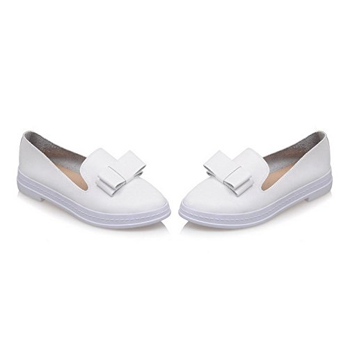 AgooLar Femme Tire Rond à Talon Bas Pu Cuir Chaussures Légeres Blanc