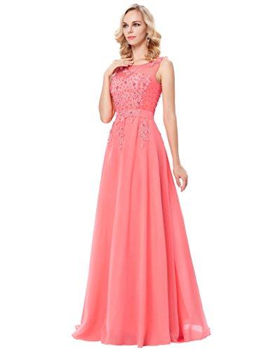 Grace Karin V-Rückenfrei Chiffon Langes Party Ballkleid Abendkleid ZY007555 Coral Pink