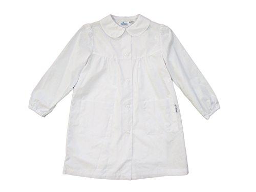 Siggi grembiule scuola bambina, grembiule blu/bianco per bambina, grembiule semplice senza disegno, atossico - art. 2888 (7 anni | 122 cm, bianco)