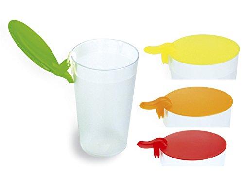 10 Glasabdeckung Trinkglas-Deckel Ø85mm, farbig sortiert, spülmaschinengeeignet, Wespenschutz