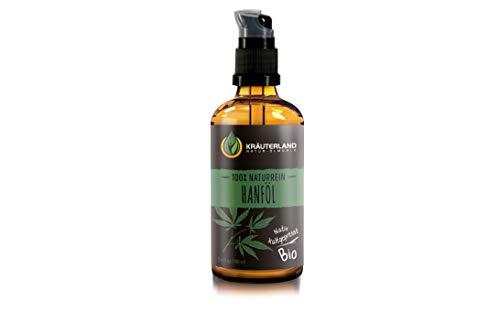 Kräuterland Hanföl, Bio Hautöl, 100ml, kaltgepresst, 100% naturrein, Anti-Aging, für Gesichts- und Körperpflege, gegen trockene Haut (Hanföl 100ml)