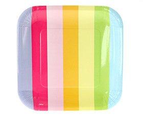 (12 Party-Papp-Teller mit Regenbogen-Block-Streifen)
