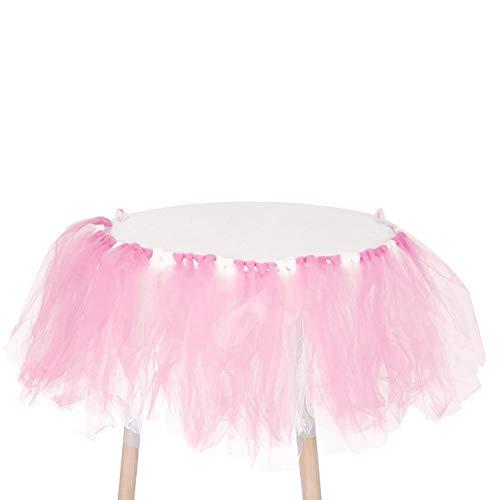 Fdit Hochstuhl Flauschiger Rock Tutu schöner Esszimmerstuhl Rock süße Babyparty Kindergeburtstag Party Tischdeko ohne Licht Rosa/Weiß