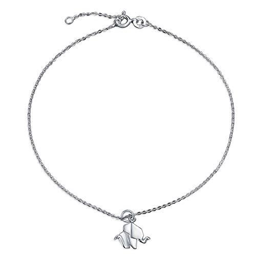Origami Glück Elefanten Fußkettchen Baumeln Charm Armband Für Damen 925 Sterling Silber Einstellbar 9 Bis 10 Zoll