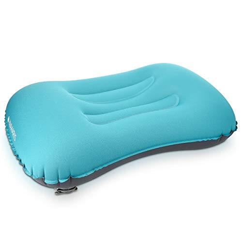 Navaris cuscino da campeggio gonfiabile e leggero - cuscinetto da viaggio cervicale ergonomico per camping spiaggia camper auto 40x30cm - blu