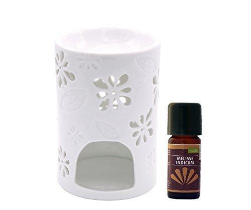 Duftlampe Teelicht Wärmer Stövchen Nyl mit Melisse Indicum Öl 10 ml - Wärmer Duftlampe