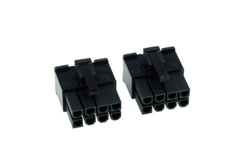 Phobya VGA Power Connector 8Pin Stecker inkl. 8 Pins - 2 Stück Black Kabel Connector -