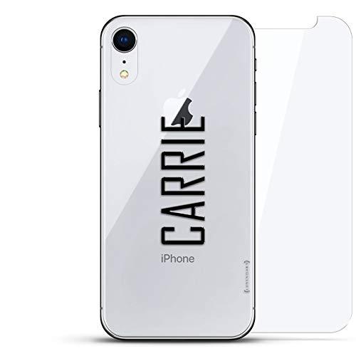 All Things Elon: Ludicrous Speed! Tesla Fan CASE Luxendary Un-Case Serie Designer-Glas-Rückplatte mit Displayschutz für iPhone XR, Name: Carrie, Stil MIT MODERNER Schriftart, farblos