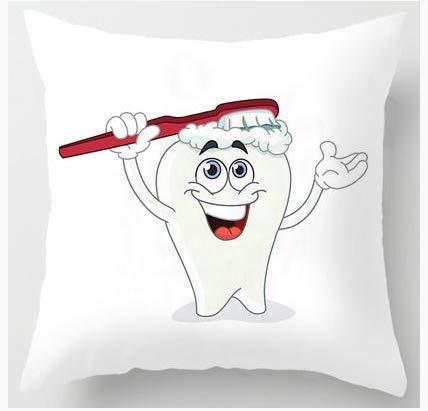 HLZLA Nette Karikatur-Zahn-Kissen-Reinigungs-Reiniger-Sorgfalt-Bürsten-Hygiene zusammen glückliches Zahn-weißes Zahnbürsten-Kinderkissen für Haus1 (Glückliche Zusammen Halloween 1.)