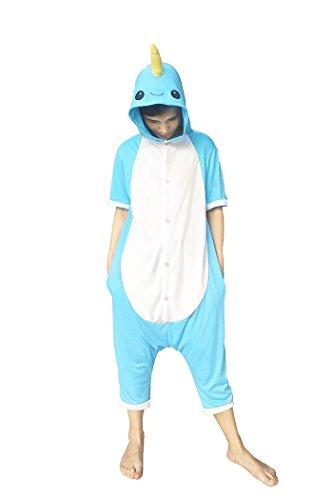 osa Narwal Pyjama Unisex Erwachsene Cosplay Kostüme (M, Summer Blue) (Blue M Und M Kostüme)