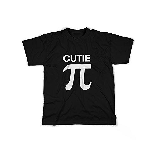 Männer T-Shirt mit Aufdruck in Schwarz Gr. XL Cutie Pie π Design Boy Top Junge Shirt Herren Basic 100% Baumwolle Kurzarm