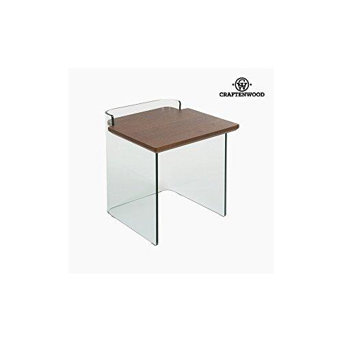 Beistelltisch Gebogenes glas Dm Nussbaumholz (50 x 50 x 50 cm) by Craftenwood (50 Gebogenes Glas)