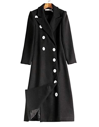 Fanessy Femme Manteau Hiver Chaud Noir élégant Longue Veste Blouson en Laine Casual Bureau Double Boutonnage Cardigan Mode Grande Taille Col Revers Coat Parka épais
