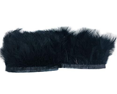 ERGEOB Voll Samt Huhn Federn Stoffstreifen 2 Meter - Ideen für die Bekleidung, Kostüme, Hüte. schwarz