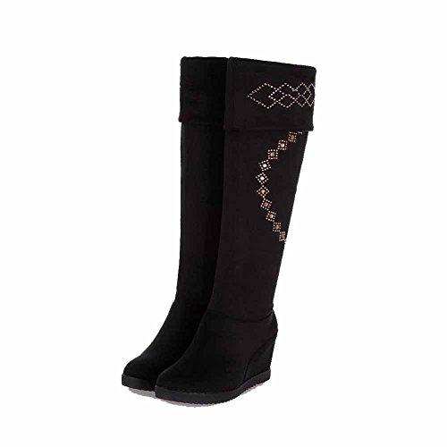 AllhqFashion Damen Hoch-Spitze Rein Ziehen auf Rund Zehe Stiefel mit Beschlagene Strass, Blau, 37