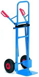 Fetra B1335L Stuhlkarre, Traglast 300 kg, Schaufel L 320 x 250 mm, Tragarmlänge 500 mm, B x H 580 x 1300 mm, Luftbereifung, RAL 5007, blau