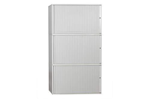 Steelcase Aufsatz Sideboard Aktenschrank Büroschrank 3-Teilig Mit Rolllade In Dekor Kristall Hellgrau Geprüft Und Gebraucht, 217x120x47cm (Generalüberholt)