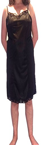 Marlon Full antiscivolo con cinghia regolabile. Nero o Bianco Chemise Petticoat UK 12-26 Nero