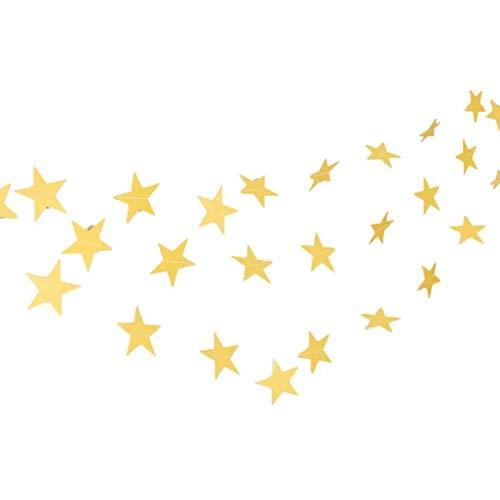 Kakiyi 4m Stern-Herz-Papiergirlande DIY Banner Hochzeit Geburtstag Party-Baby-Dusche Kinderzimmer Heim Hängedeko