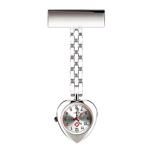 CestMall Krankenschwester Armbanduhr, Uhren Uhr Revers Pin Fob Uhr Rettungssanitäter Arzt Brosche Taschenuhr Quarzwerk Krankenschwestern Uhr Clip-On Hängen