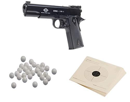 KOSxBO Set GSG Softair Pistole 1911 Kaliber Federdruck, Schwarz, 6 mm inklusive Premium Airsoft Zielscheiben und Premium BBS -
