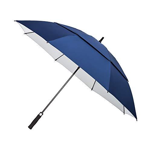 """YAPASPT 62\""""Paraguas de Golf Extra Grande Protección UV A Prueba de Viento Parasol Doble con ventilación y con Dosel Abierto, Azul Marino (Navy Blue)"""