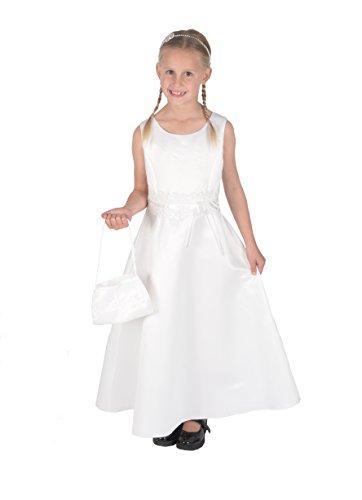 Cinda Mädchen Brautjungfer / Heilige Kommunion Kleid- 146-152 (11-12 Years), Elfenbein mit Handtasche