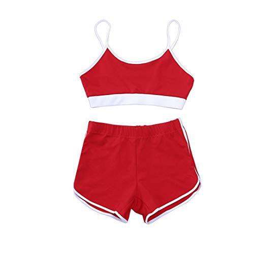 BDSGHAKE Damen Sportanzug Crop Top Hohe Taille Kurze Hose Lady Sommer Outfit Yoga Workout Kleidung Red M - Jockey Crop Top