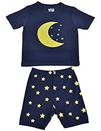 """Babygp dos conjuntos de pijama de """"Las estrellas y la luna"""" para los niños de algodón 100% (2-10 años,Pantalones de traje de manga corta)"""
