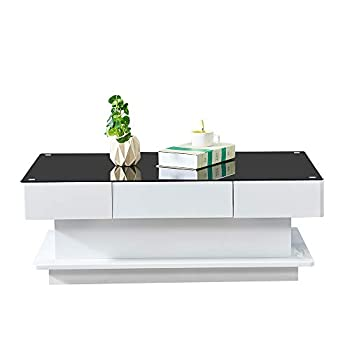 BOJU Living Room High Gloss Glass Coffee Table Black Glass with 2 Storage Drawers Large Wooden Rectangular Sofa End Tea Table for Office Waiting Reception Home Furniture 3FT