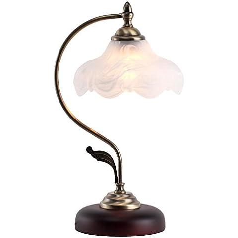 KA-ALTHEA- pastoral dormitorio retro estudio lámpara de América toque creativo lámpara de la mesita de madera de vidrio Europea, barras de hierro forjado -Simple, Elegante,