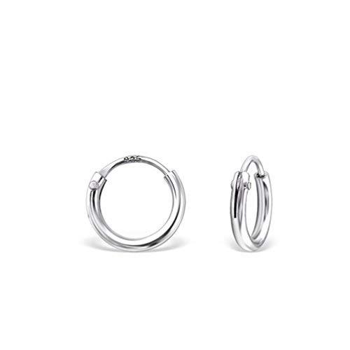 DTPsilver -Damen - Klein Creolen - Ohrringe 925 Sterling Silber Klein Kugel - Dicke 1.2 mm - Durchmesser 8 mm