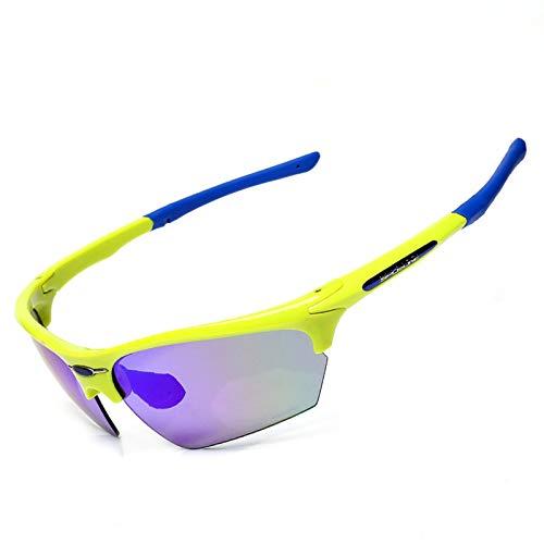 KnSam Winddicht Uv-Beständig Fahrradbrille Jungen Kratzfester Scheibe Panoramablickfeld Gelb Blau Schutzbrille