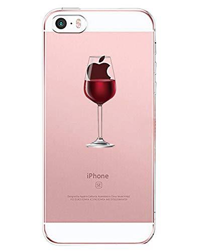 matop Schutzhülle für iPhone SE 5S 5Crystal Clear mit Design Weich Ultra Dünn TPU Stoßfest Schutz Bumper Fall Stoßdämpfung Slim Muster Back Cover für iPhone SE 5S 5, Red Wine Glass (I Phone Bikini-fall)