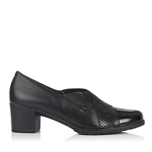 PITILLOS 5243 Zapato Piel Tacon Medio Mujer Negro 41