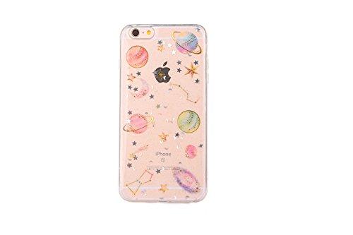 (CrazyLemon Hülle für iPhone 8 / iPhone 7, 3D Prägung Bling Glänzend Star Planet Weltraum Konstellation Design Weich Slim Transparent Silikon Case Cover TPU Schutzhülle für iPhone 7 iPhone 8 - Clear)