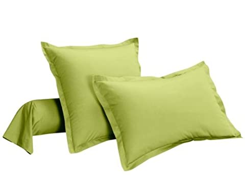 Taie de traversin 100% percale de coton Vert vert anis Uni 85 x 185 cm
