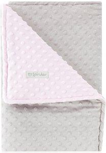 pirulos 64005134–Decke doppelseitig, 80x 110, Design Dots, Farbe grau/rosa
