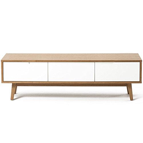 Meuble TV Design scandinave ALSKAR Chêne et Blanc 150 cm