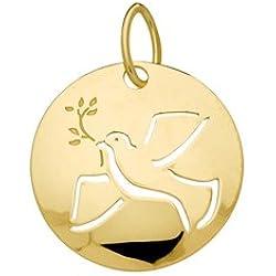COLOMBE DE LA PAIX - Médaille Laïc - Or Jaune 9 carats - Hauteur: 16 mm - www.diamants-perles.com