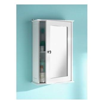ChoicefullBargain Single Mirror Bathroom Cabinet Shelves White.