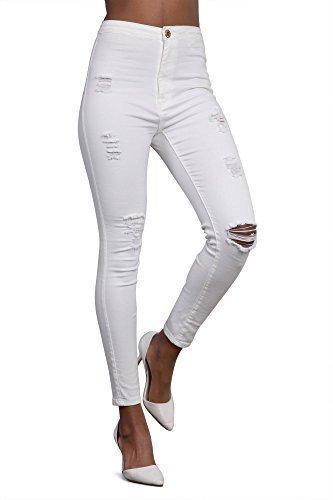 Donna Vita Alta Strappati Skinny Jeans Da Donna Pantaloni Slim Fit UK 6 8 10 (Frontale Jeans Aderenti)