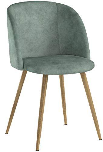 DORAFAIR Pack de 2 Sillas de Comedor Soft Retro Velvet Cushion en Estilo Retro escandinavo,sillón con el Estilo de Madera Patas de Metal Resistente, Verde