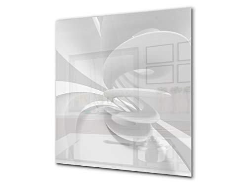 Protector antisalpicaduras – Panel de vidrio para cocina – BS12 Serie texturas blancas y grices: Abstracción de geometría 1