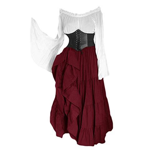 Kunfang Damen Mittelalterliches Kostüm Retro Renaissance Maxikleid Weg Schulter Glockenärmel Langes Kleid Empire Taille Großer Saum Kleid Halloween Cosplay Kostüm