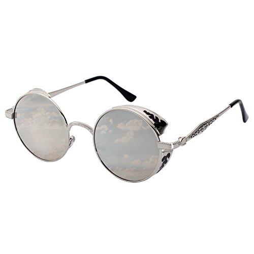 GQUEEN Retro Runde Steampunk Polarisierte Sonnenbrille MTS1