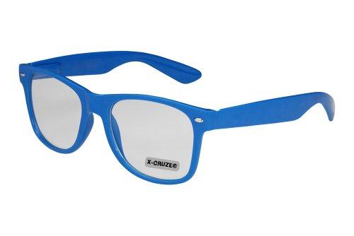 Preisvergleich Produktbild X-CRUZE® 1-031 X07 Nerd Brille ohne Stärke Vintage Retro Style Stil Klarglas Hornbrille Modebrille Unisex Herren Damen Männer Frauen Streberbrille mediumblau