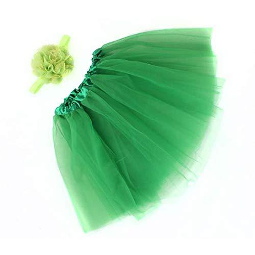 WOZOW Mädchen Tüllrock Einfarbig Mesh Blumen Stirnband Ballettrock Weihnachten Fasching Röckchen Tanzkleid Minirock Prinzessin Crinoline ()