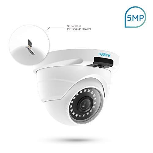 Reolink PoE IP Kamera Lan Outdoor mit 2560x1920 Pixeln Auflösung, Überwachungskamera mit Externem SD Kartenslot, Audio, 18 Infrarot-LEDs Nachtsicht, Aufnahme und Bewegungserkennung, Fernzugriff und Live-View auf Handy, PC und Browser, RLC-420-5MP